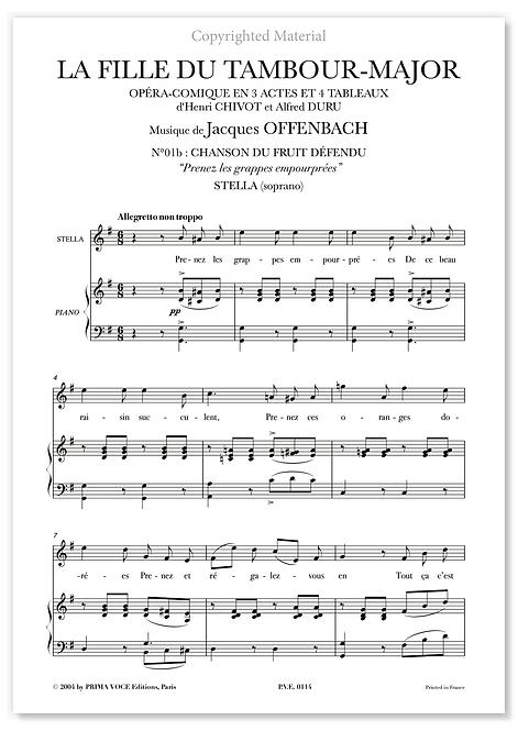 """Offenbach • FILLE DU TAMBOUR-MAJOR (LA) """"Prenez les grappes empourprées"""" (sop.)"""