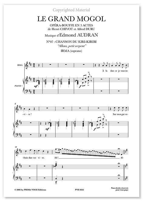 "Audran • GRAND MOGOL (LE) • ""Allons, petit serpent"" (soprano)"