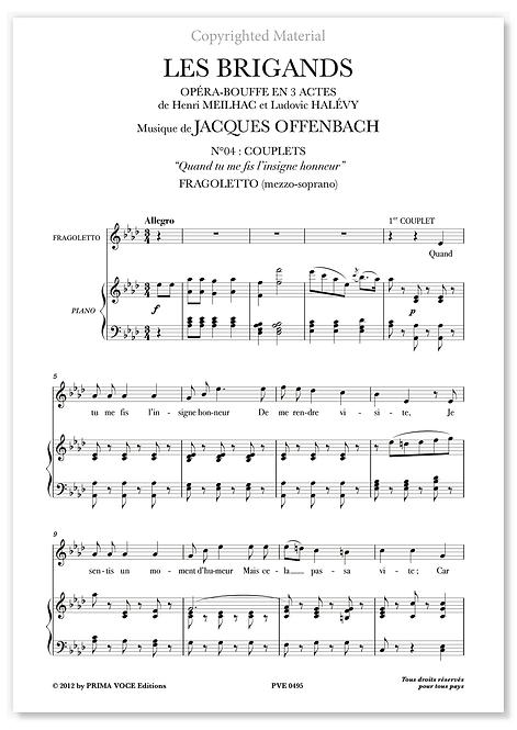 """Offenbach • BRIGANDS (LES) • """"Quand tu me fis l'insigne honneur"""" (mezzo-soprano)"""
