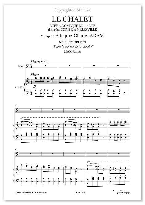 """Adam • CHALET (LE) • """"Dans le service de l'Autriche"""" (basse)"""