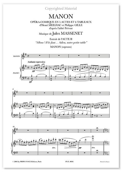 "Massenet • MANON • ""Adieu, notre petite table"" (soprano)"