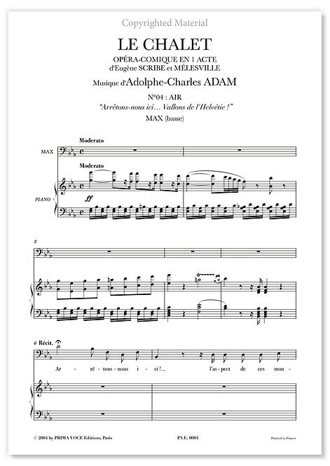 """Adam • CHALET (LE) • """"Vallons de l'Helvétie !"""" (basse)"""