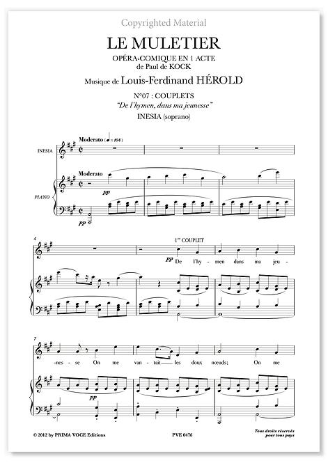 """Hérold • MULETIER (LE) • """"De l'hymen, dans ma jeunesse"""" (soprano)"""