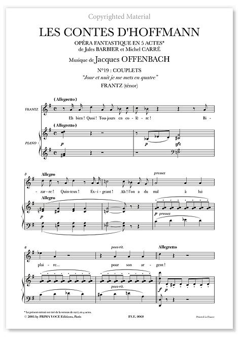 """Offenbach • CONTES D'HOFFMANN (LES) •""""Jour et nuit je me mets en quatre"""" (ténor)"""