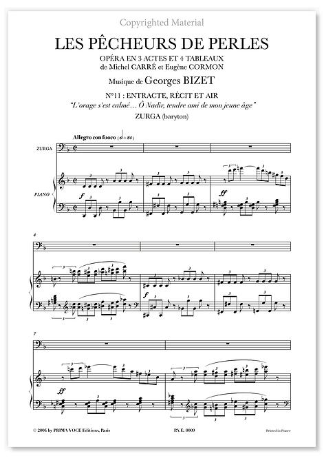 """Bizet • PÊCHEURS DE PERLES (LES) • """"Ô Nadir, tendre ami..."""" (bar.)"""