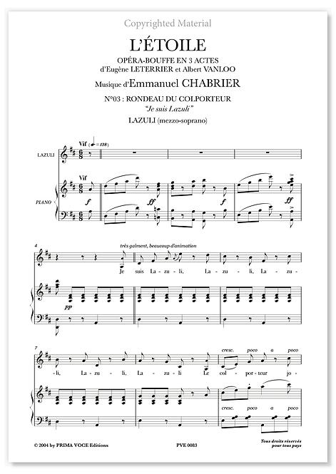 """Chabrier • ÉTOILE (L') • """"Je suis Lazuli"""" (mezzo-soprano)"""