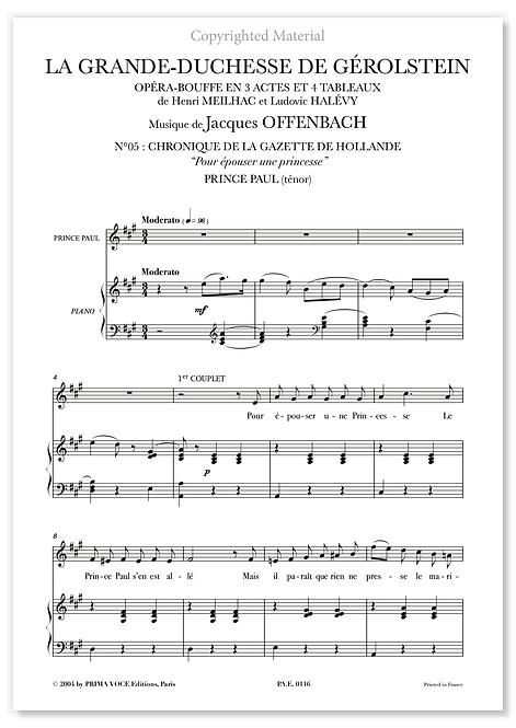 """Offenbach • GRANDE-DUCHESSE DE GÉROLSTEIN (LA) • """"Pour épouser..."""" (ténor)"""