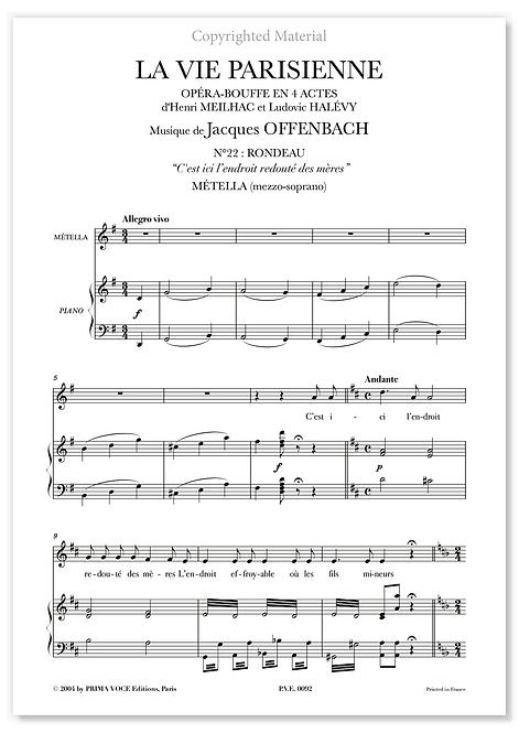 """Offenbach • VIE PARISIENNE (LA) """"C'est ici l'endroit redouté des mères"""" (mezzo)"""