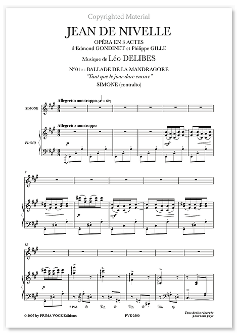 """Delibes • JEAN DE NIVELLE • """"Tant que le jour dure encore"""" (mezzo-soprano)"""