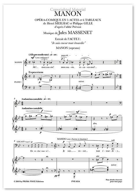 """Massenet • MANON • """"Je suis encor tout étourdie"""" (soprano)"""