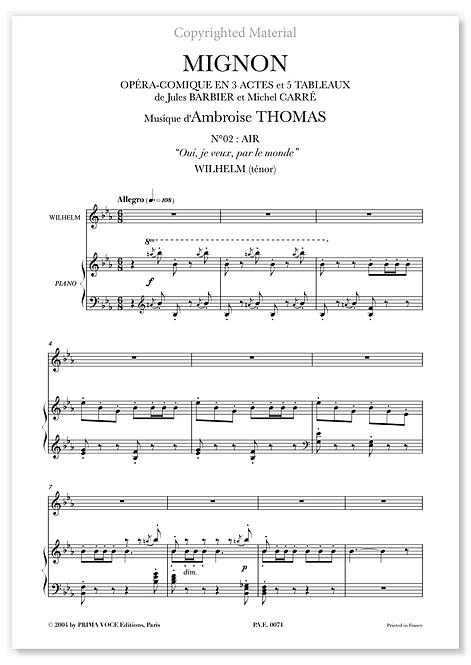"""Thomas • MIGNON • """"Oui, je veux, par le monde"""" (ténor)"""