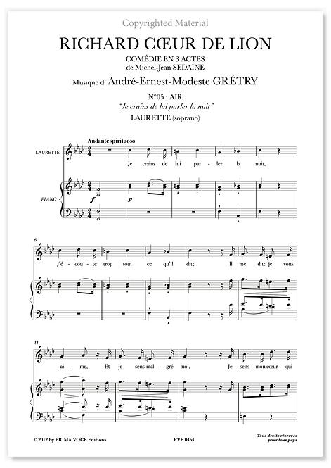 """Grétry • RICHARD COEUR DE LION • """"Je crains de lui parler la nuit"""" (soprano)"""