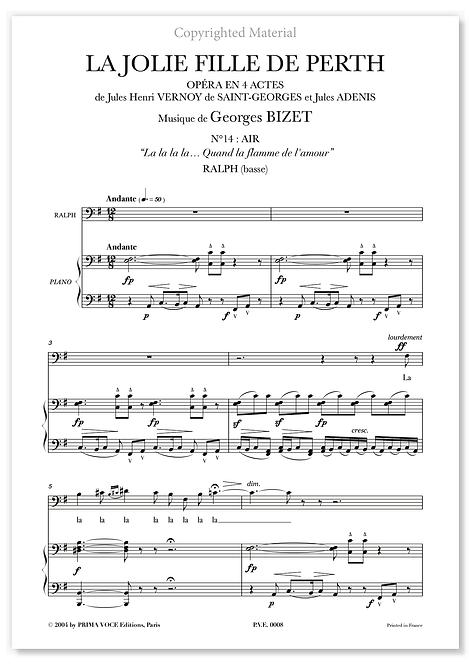 """Bizet • JOLIE FILLE DE PERTH • (LA) – """"Quand la flamme de l'amour"""" (basse)"""