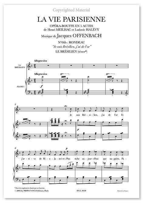 """Offenbach • VIE PARISIENNE (LA)• """"Je suis Brésilien, j'ai de l'or"""" (ténor)"""