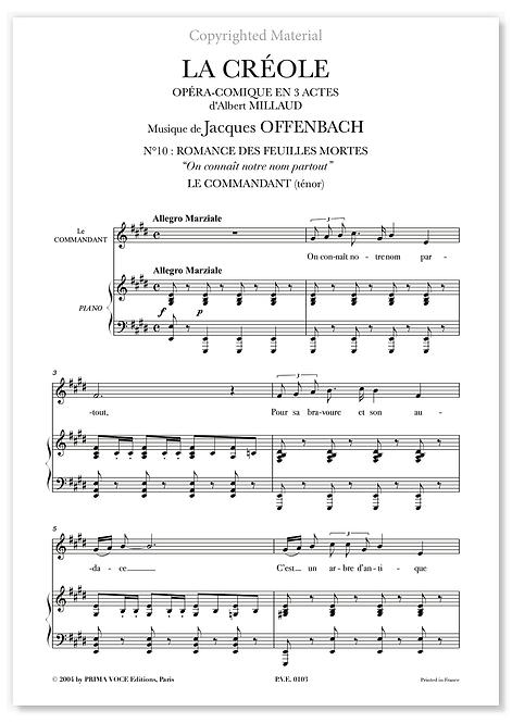 """Offenbach • CRÉOLE (LA) • """"On connaît notre nom partout"""" (ténor)"""