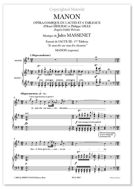 """Massenet • MANON • """"Je marche sur tous les chemins"""" (soprano)"""