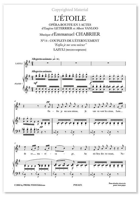"""Chabrier • ÉTOILE (L') • """"Enfin je me sens mieux"""" (mezzo-soprano)"""