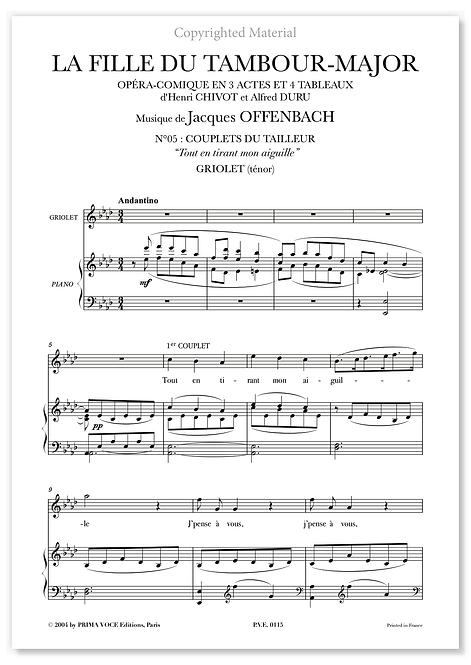 """Offenbach • FILLE DU TAMBOUR-MAJOR (LA) • """"Tout en tirant mon aiguille"""" (ténor)"""