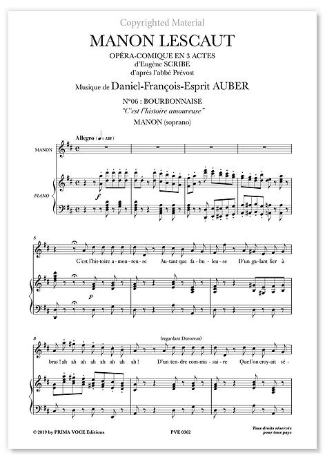 "Auber • MANON LESCAUT • ""C'est l'histoire amoureuse"" (soprano)"