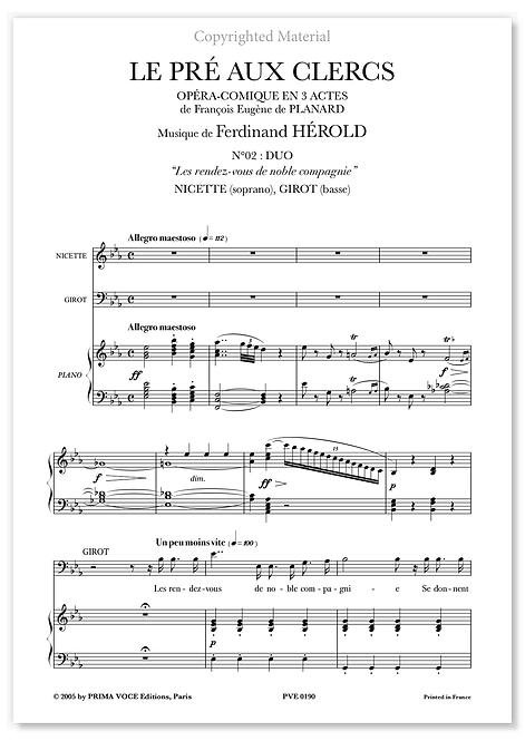 """Hérold • PRÉ AUX CLERCS (LE) • DUO """"Les rendez-vous..."""" (sop./basse)"""