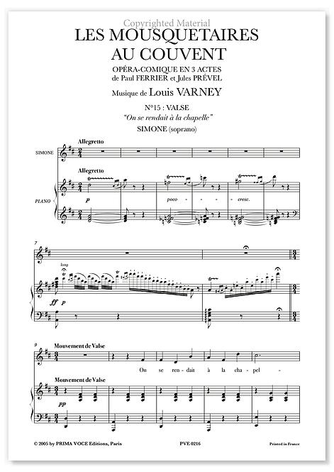 """Varney • MOUSQUETAIRES AU COUVENT (LES) • """"On se rendait à la chapelle""""(soprano)"""
