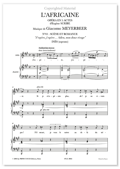"""Meyerbeer • AFRICAINE (L') • """"Adieu, mon doux rivage"""" (soprano)"""