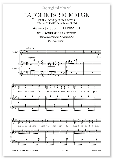 "Offenbach • JOLIE PARFUMEUSE (LA) • ""Monsieur, Madam' Bruscambille"" (ténor)"
