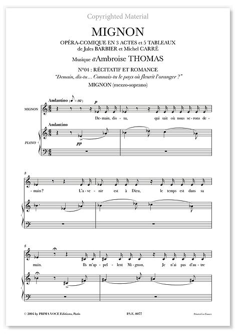 """Thomas • MIGNON • """"Connais-tu le pays où fleurit l'oranger"""" (mezzo-soprano)"""