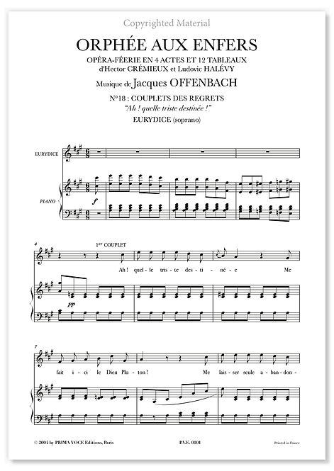 """Offenbach • ORPHÉE AUX ENFERS • """"Ah ! quelle triste destinée !"""" (soprano)"""