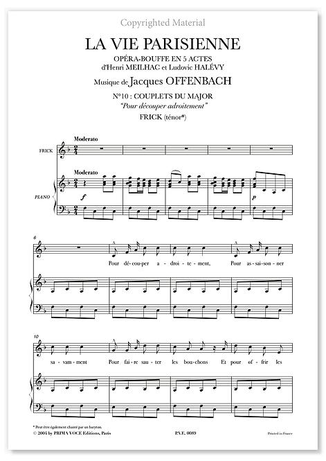 """Offenbach • VIE PARISIENNE (LA) • """"Pour découper adroitement"""" (ténor)"""