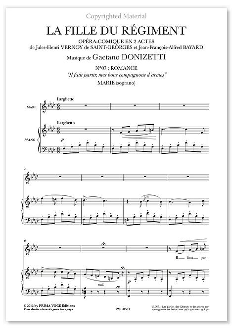 """Donizetti • FILLE DU RÉGIMENT (LA) • """"Il faut partir..."""" (soprano)"""
