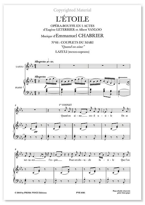 """Chabrier • ÉTOILE (L') • """"Quand on aime"""" (mezzo-soprano)"""