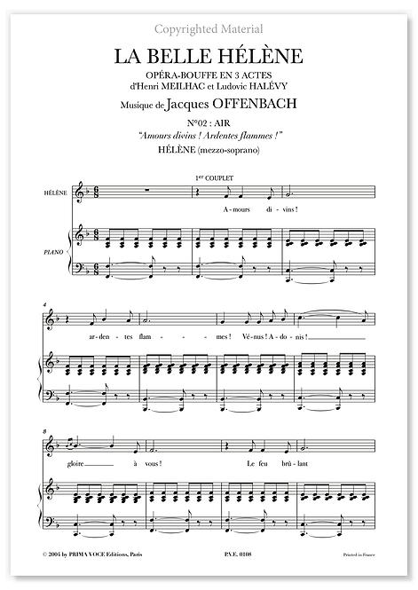 """Offenbach • BELLE HÉLÈNE (LA) • """"Amours divins ! Ardentes flammes !"""" (mezzo.)"""