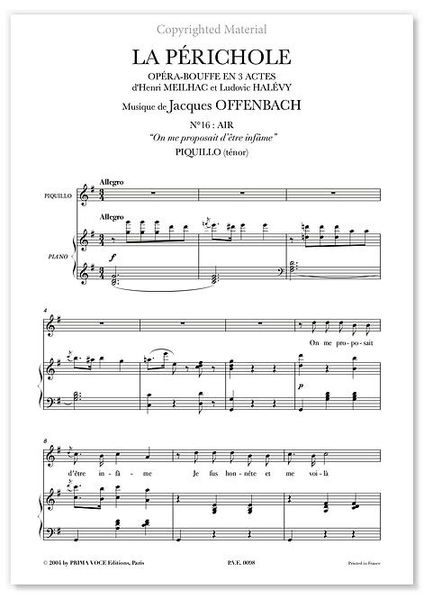 """Offenbach • PÉRICHOLE (LA) • """"On me proposait d'être infâme"""" (ténor)"""