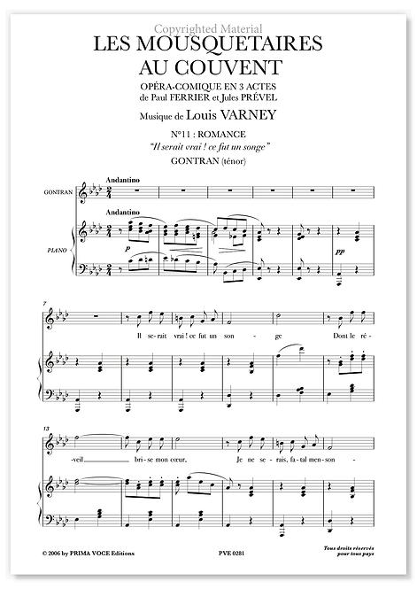 """Varney • MOUSQUETAIRES AU COUVENT (LES) """"Il serait vrai ! ce fut un songe""""(tén.)"""