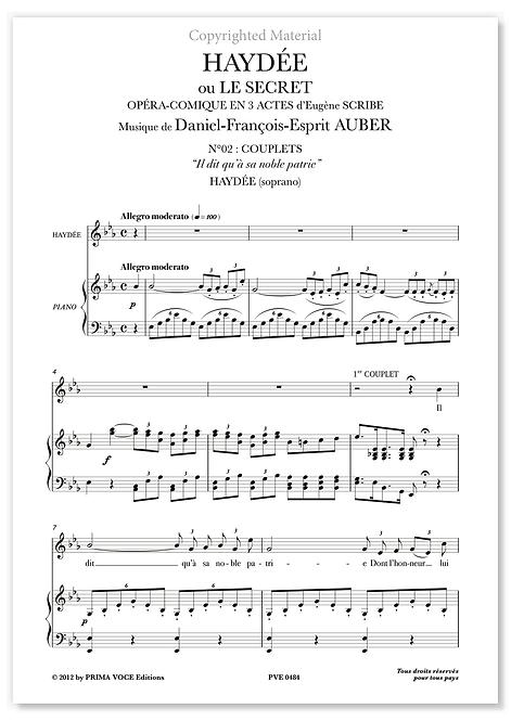 """Auber • HAYDÉE • """"Il dit qu'à sa noble patrie"""" (soprano)"""