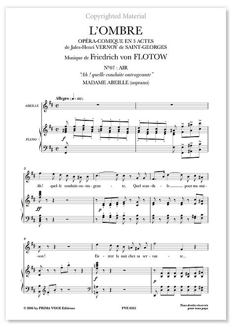 """Flotow • OMBRE (L') • """"Ah ! quelle conduite outrageante"""" (soprano)"""