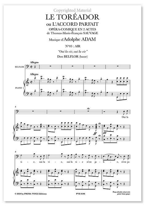 "Adam • TORÉADOR (LE) • ""Oui la vie, oui la vie"" (basse)"