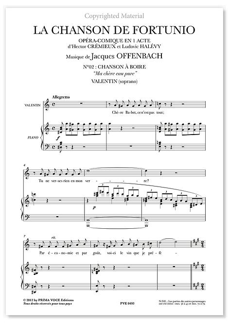 """Offenbach • CHANSON DE FORTUNIO (LA) • """"Ma chère eau pure"""" (soprano)"""