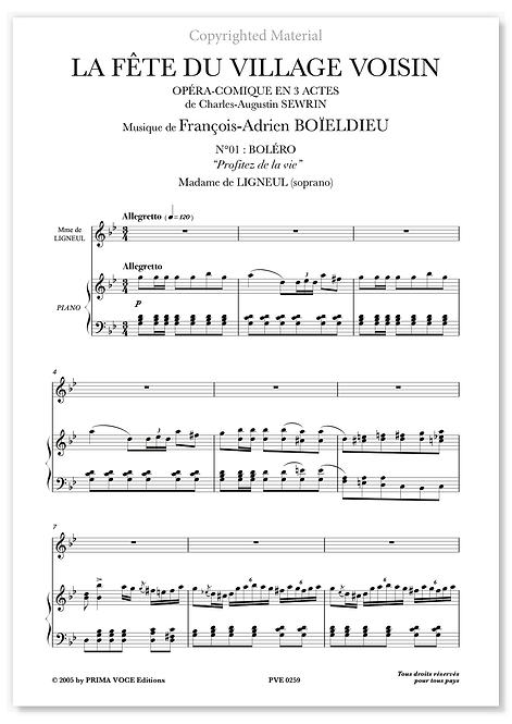 """Boieldieu • FÊTE DU VILLAGE VOISIN (LA) • """"Profitez de la vie"""" (soprano)"""