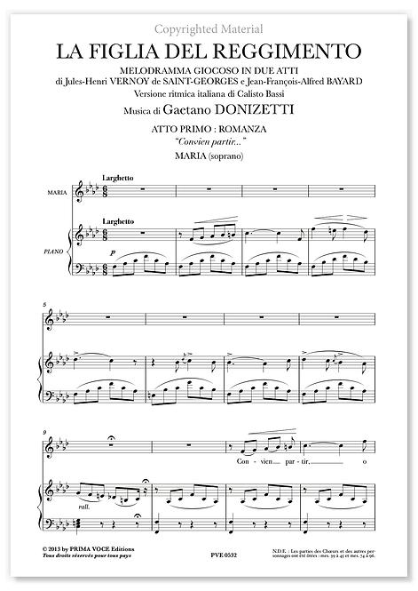 """Donizetti • FIGLIA DEL REGGIMENTO (LA) • """"Convien partir..."""" (soprano)"""