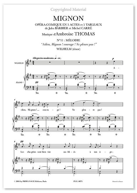 """Thomas • MIGNON • """"Adieu, Mignon ! courage ! Ne pleure pas !"""" (ténor)"""