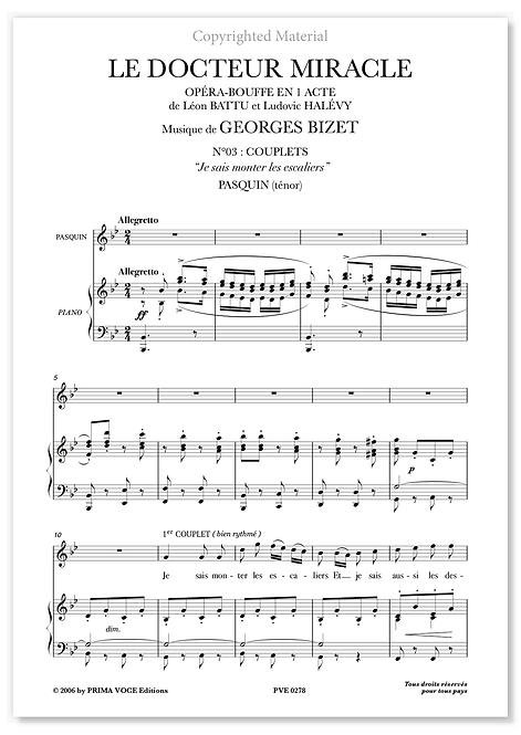 """Bizet • DOCTEUR MIRACLE (LE) • """"Je sais monter les escaliers"""" (ténor)"""