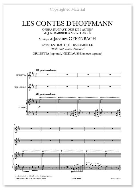 Offenbach • CONTES D'HOFFMANN (LES) • DUO Belle nuit, ô nuit d'amour (sop/mezzo)