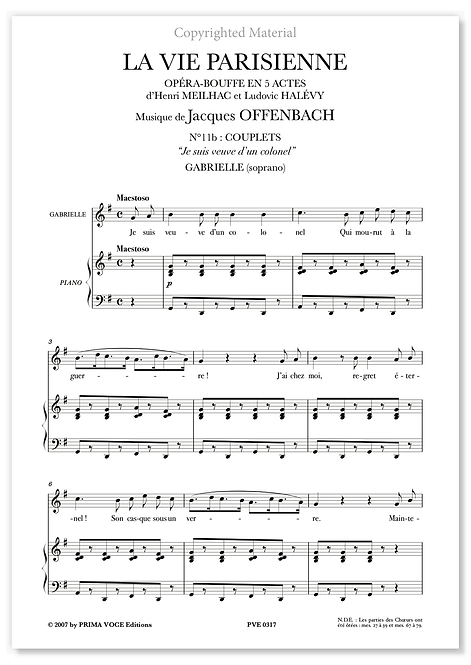 """Offenbach • VIE PARISIENNE (LA) • """"Je suis veuve d'un colonel"""" (soprano)"""