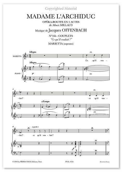 """Offenbach • MADAME  L'ARCHIDUC • """"Ce qu'il voulait ?"""" (soprano)"""