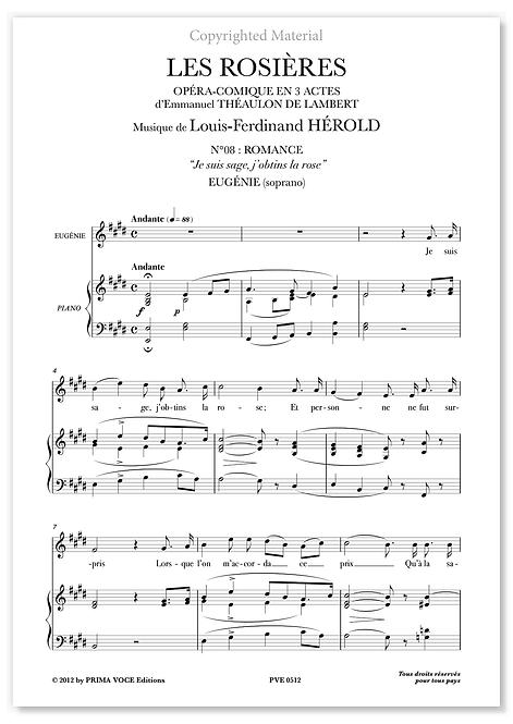 """Hérold • ROSIÈRES (LES) • """"Je suis sage, j'obtins la rose"""" (soprano)"""