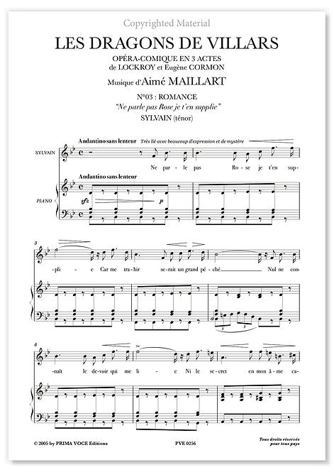 "Maillart • DRAGONS DE VILLARS (LES) • ""Ne parle pas Rose..."" (ténor)o"