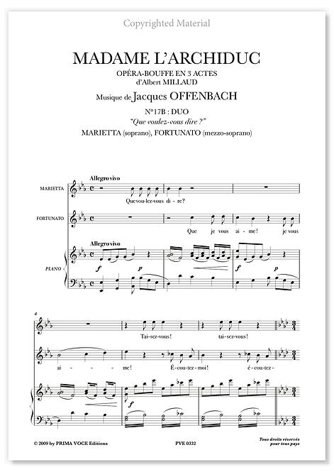 """Offenbach • MADAME L'ARCHIDUC • """"Que voulez-vous dire ?"""" (sop./mezzo)"""