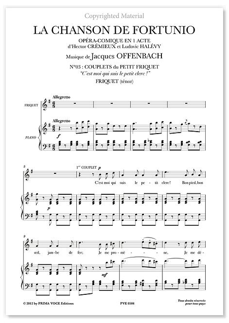 """Offenbach • CHANSON DE FORTUNIO (LA) """"C'est moi qui suis le petit clerc"""" (tén.)"""